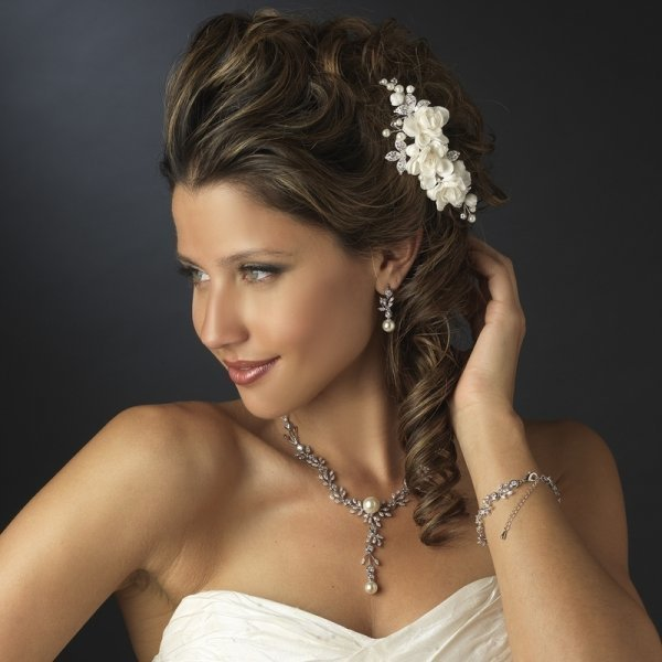 Ivory Floral Fabric Bridal Comb With Pearls