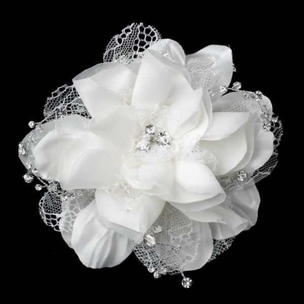 Off White Floral Lace Bridal Hair Clip