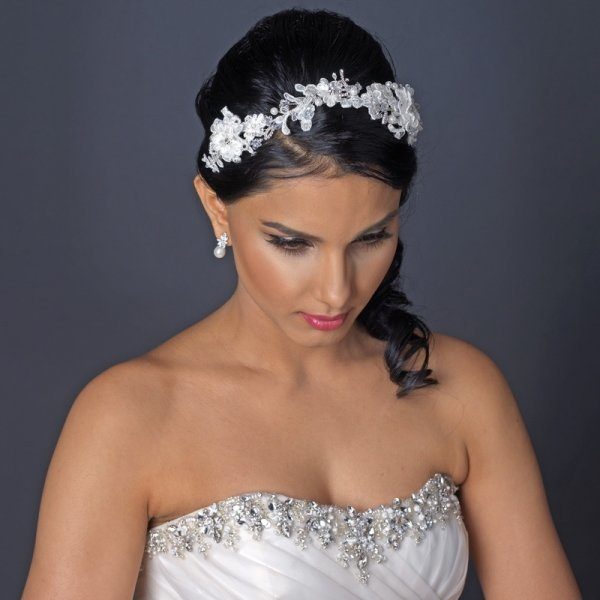 Ivory Floral Lace Bridal Headband