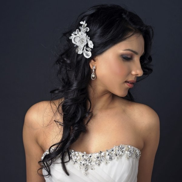 Ivory Floral Lace Comb With Crystals & Sequin Accents