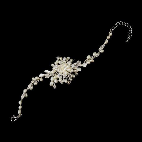 Ivory Freshwater Pearl & Rhinestone Bridal Bracelet