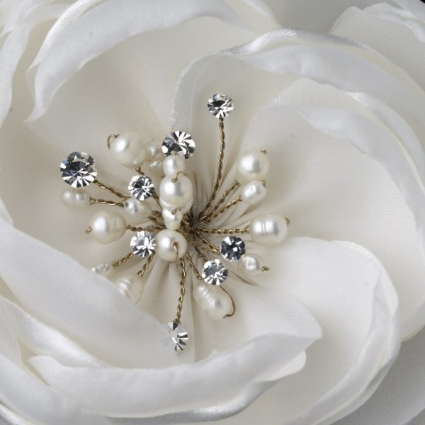 Ivory Floral Fabric Bridal Comb With Pearls & Rhinestones