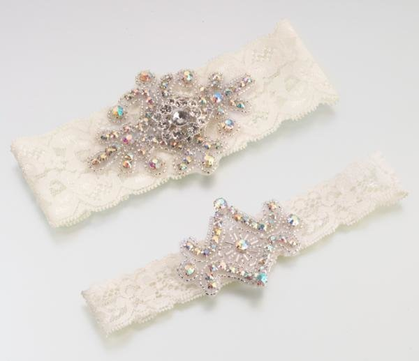 Ivory Jewelled Lace Garter Set