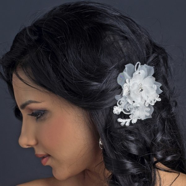 Ivory Organza Floral Lace Bridal Hair Flower