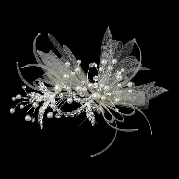 Ivory Ribbon Design Headpiece With Pearls