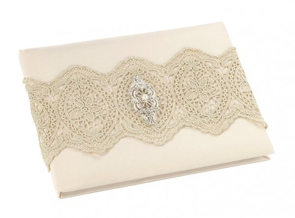 Ivory Satin & Gold Lace Wedding Guest Book