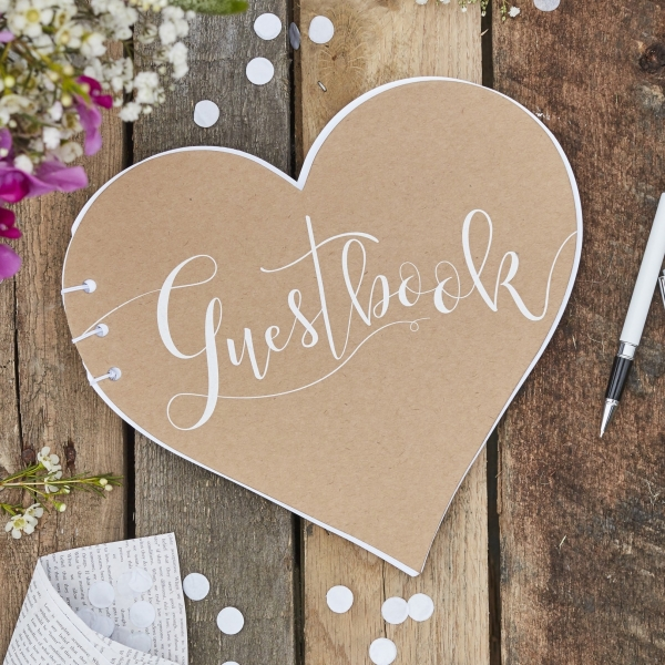Heart Shaped Country Kraft Guest Book