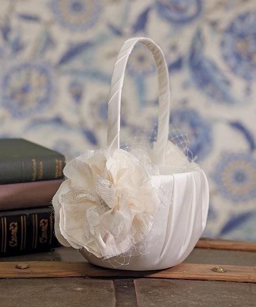 La Fleur Collection Ivory Floral Flower Basket