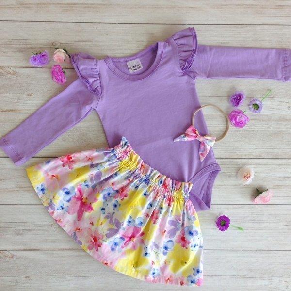 Lavender Long Sleeve Flutter Onesie