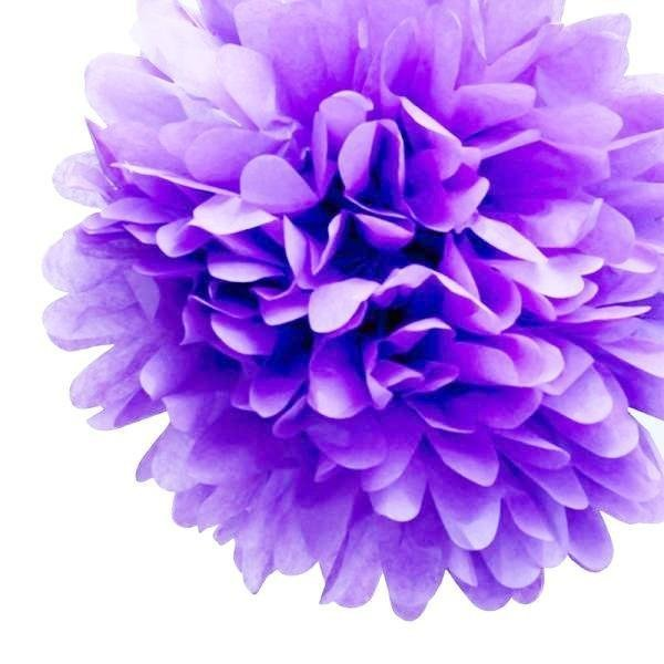 Lavender Mini Tissue Paper Pom Poms - Pack of 8