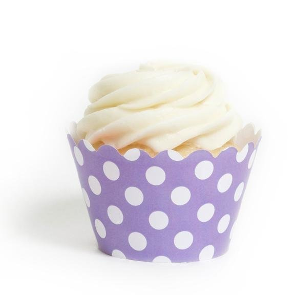 Lavender Polka Dot Cupcake Wrappers - Pack of 12