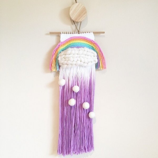 Pastel Rainbow Weave Wall Hangings Kids Decor