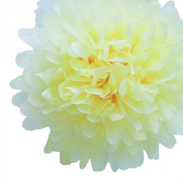 Light Yellow Mini Tissue Paper Pom Poms - Pack of 8