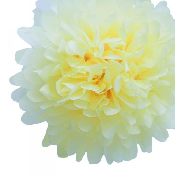 Light Yellow Tissue Pom Poms - Pack of 4