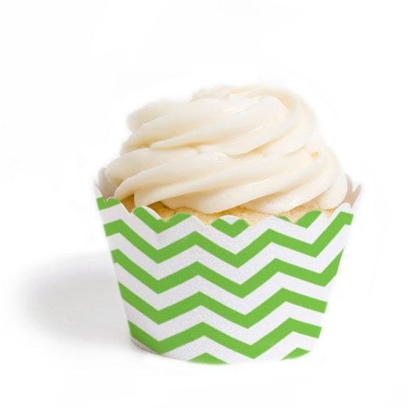 Lime Green Chevron Cupcake Wrappers - Pack of 12