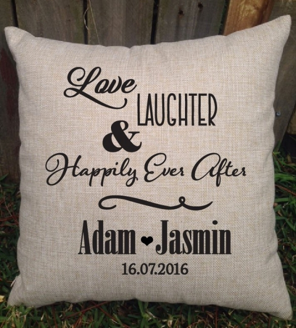 Love & Laughter Personalised Wedding Cushion - Gift