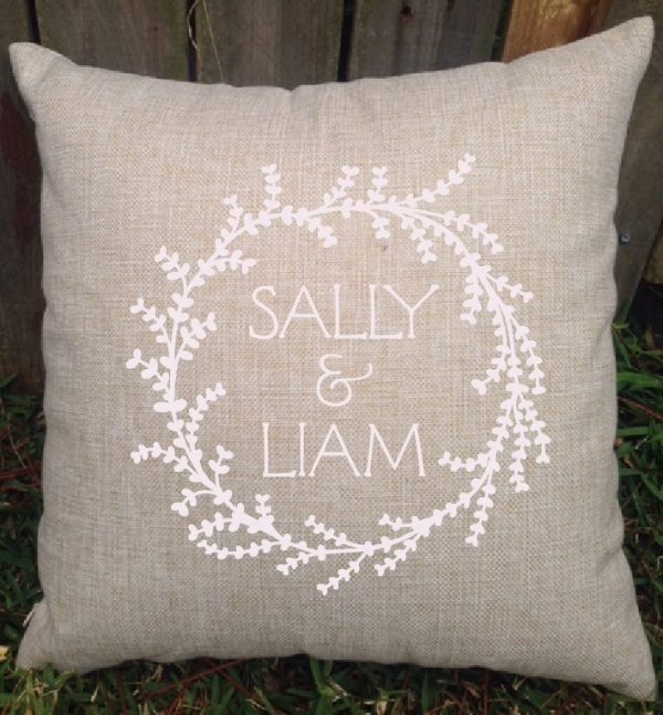 Luscious Wreath Personalised Wedding Or Engagement Cushion - Gift