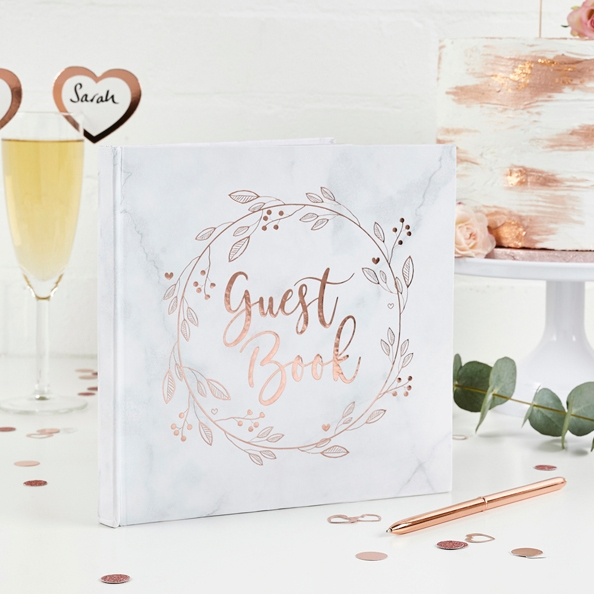 Marbled Rose Gold Guest Book