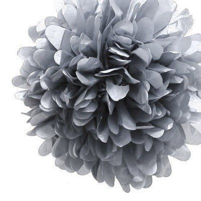 Metallic Silver Tissue Pom Poms - Pack of 4