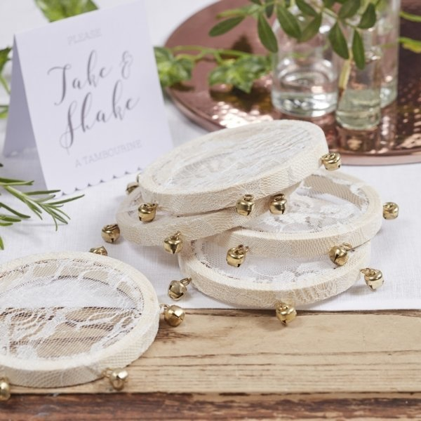 Mini Lace Covered Tambourines