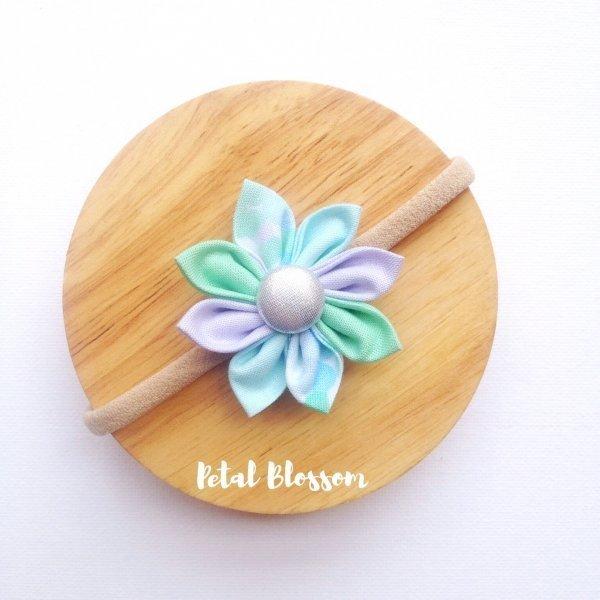 Mint Green Confetti Fabric Flower Blossom Girls Headband