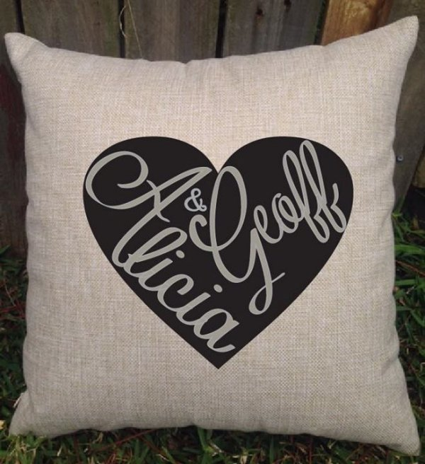 Modern Heart With Couples First Names Wedding Cushion