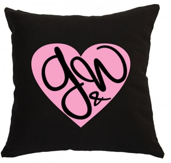 Modern Heart With Couples Initials Personalised Wedding Cushion