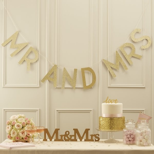 Mr & Mrs Gold Glitter Bunting
