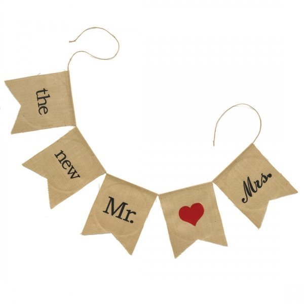 Mr & Mrs Burlap Decorative Banner