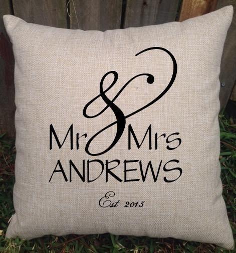 Mr & Mrs Custom Designed Wedding Cushion