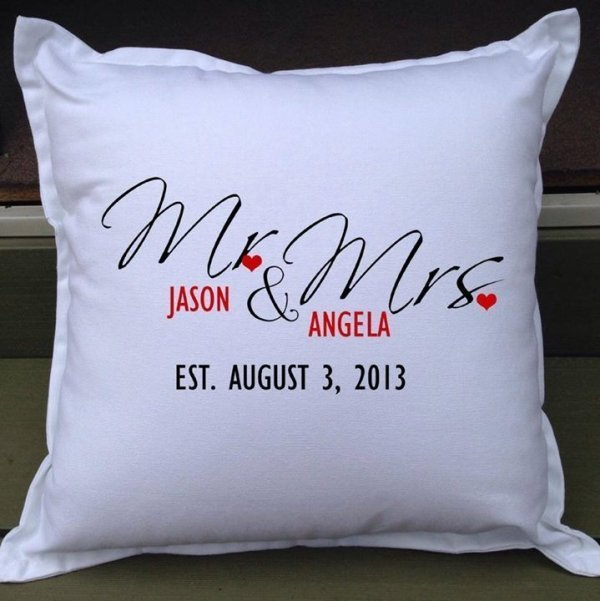 Mr mrs personalised wedding gift pillow weddings how divine mr mrs personalised wedding gift pillow negle Images