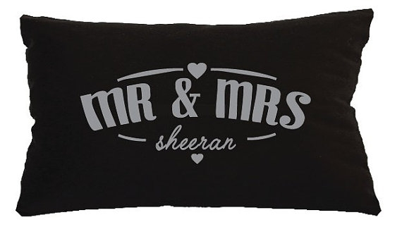 Personalised Mr & Mrs Lumbar Wedding Cushion - Gift