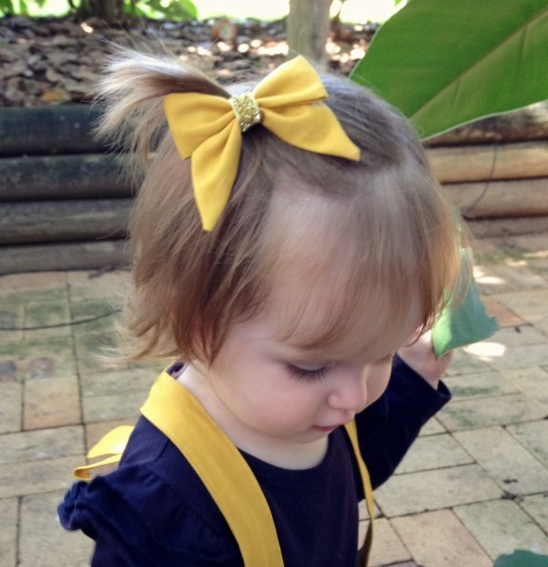 Mustard Fabric Baby Bow Headband Or Clip