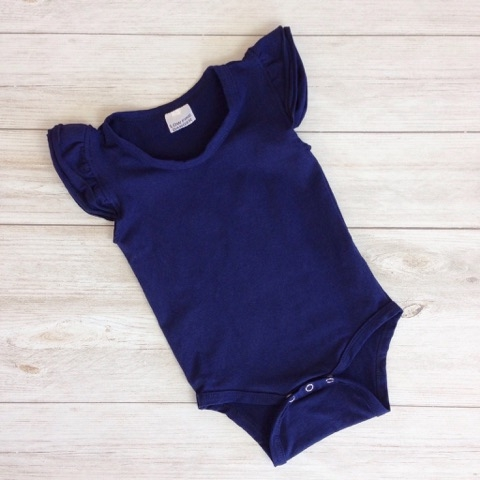 Navy Blue Short Sleeve Flutter Onesie