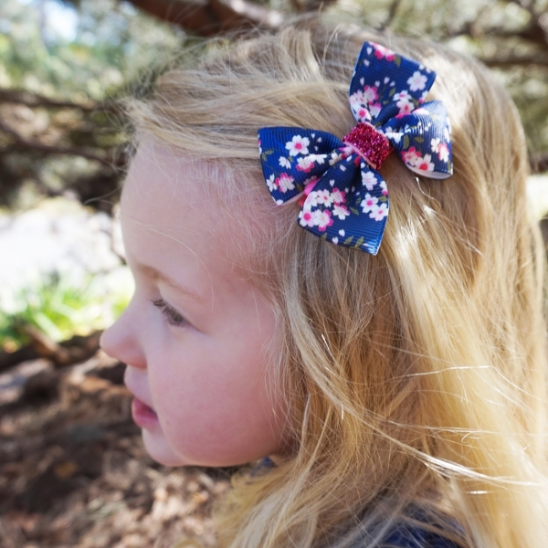 Navy & Pink Floral Grosgrain Ribbon Bow Clip or Headband
