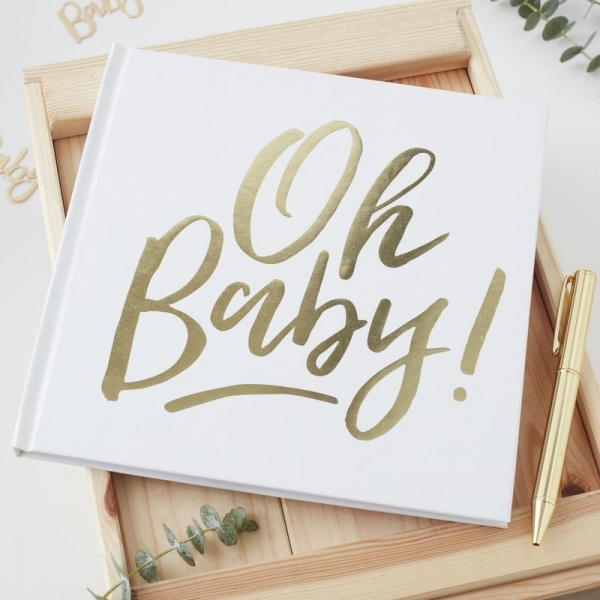 'Oh Baby' Gold Foil Baby Shower Guest Book