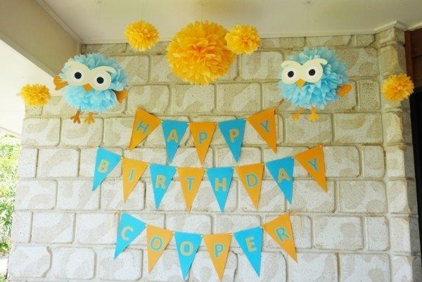 Baby Blue Tissue Pom Poms - Pack of 4