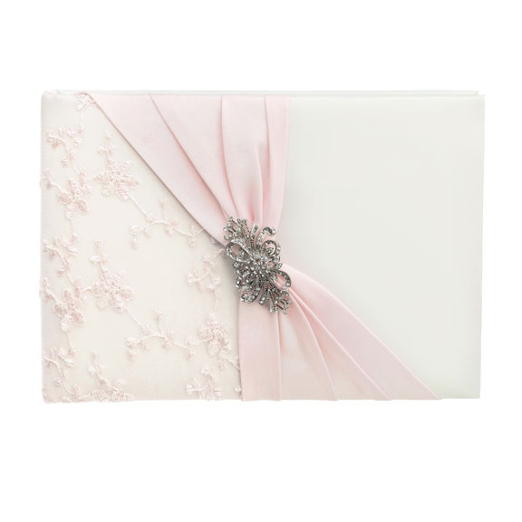 Pale Blush Pink Lace Wedding Guest Book