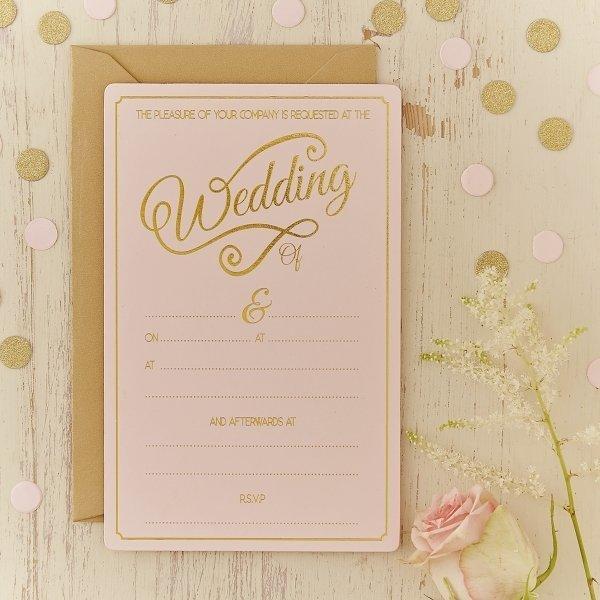 Pale pink gold foil wedding invitations 10 pack