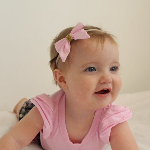 Pale Pink & Gold Sparkle Baby Bow Headband