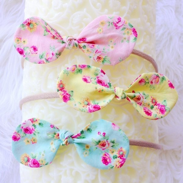 Trio of Pastel Floral Top Knot Bow Baby Headbands  538139e272a