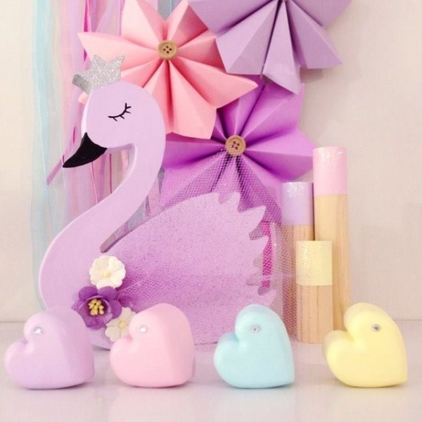 Self Standing Pastel Wooden Swan Kids Decor