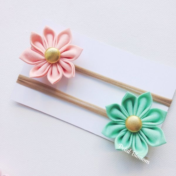Peach & Mint Green Flower Blossom Stretchy Headbands