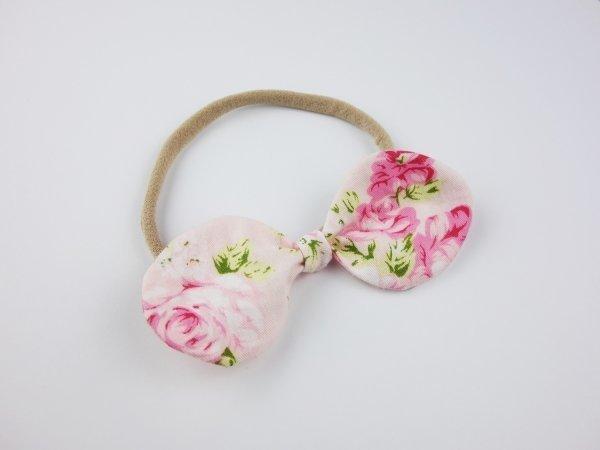 Mia Pink Shabby Rose Baby Bow Headband