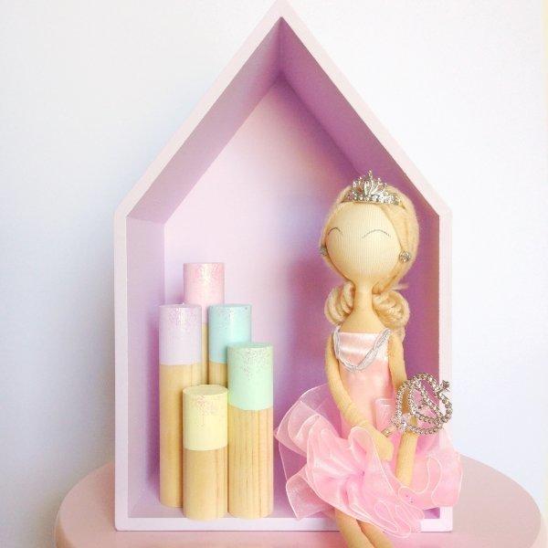 Set Of 5 Pastel Rainbow Glitter Sticks - Kids Decor