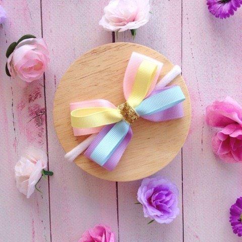 Pastel Rainbow Ribbon Loop Headband