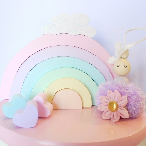 Pastel Wooden Rainbow Blocks With Glitter Cloud