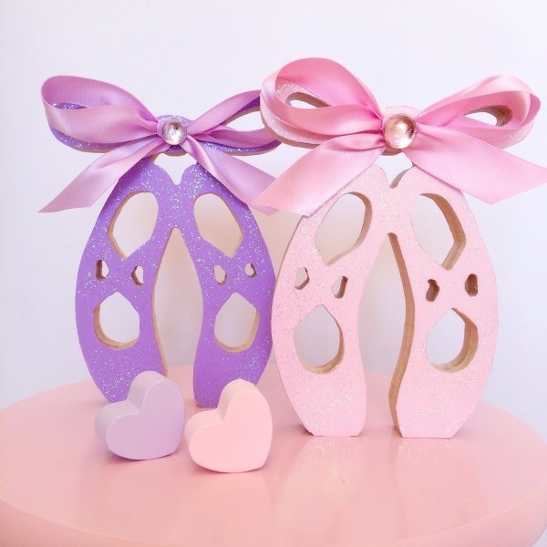 Pastel sparkling self standing wooden ballet shoes kids for Ballet shoes decoration