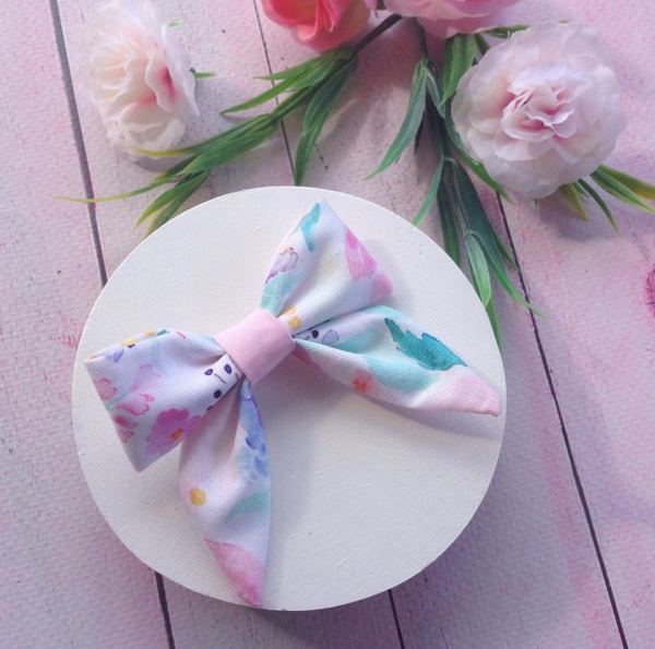 Peach Floral Watercolour Baby Bow Hair Clip or Headband