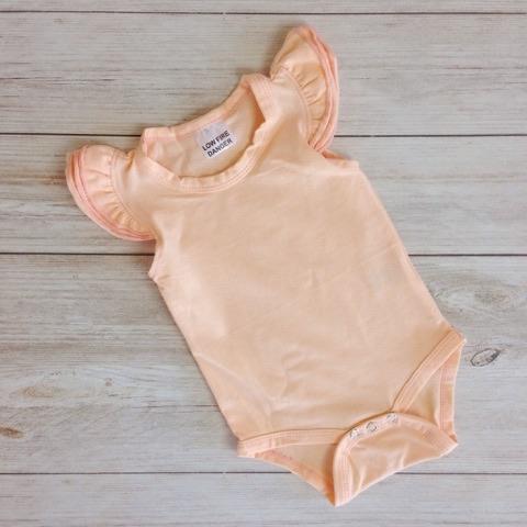 Peach Short Sleeve Flutter Onesie